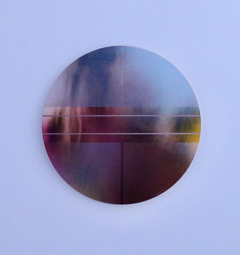 Melisa Taylor Metzger Abstract Painting - Mangata 47 (round panel tondo grid spray painting abstract wood Art Deco op art)