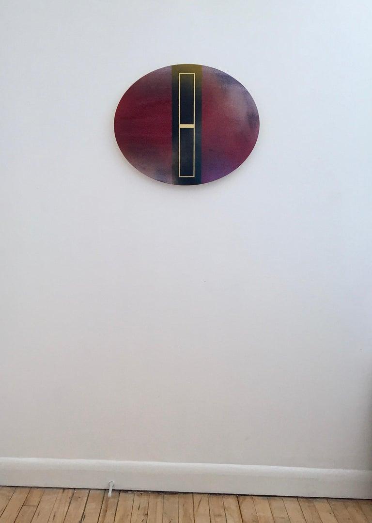Mangata 48 Oval (panel tondo grid spray painting abstract wood Art Deco op art) - Minimalist Mixed Media Art by Melisa Taylor Metzger