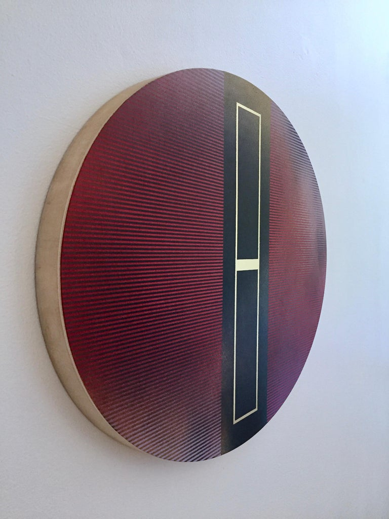 Mangata 48 Oval (panel tondo grid spray painting abstract wood Art Deco op art) For Sale 1