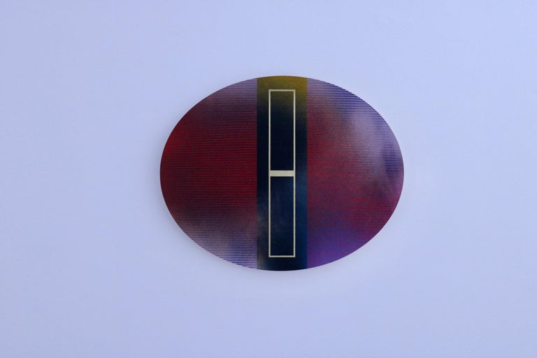Mangata 48 Oval (panel tondo grid spray painting abstract wood Art Deco op art) For Sale 3