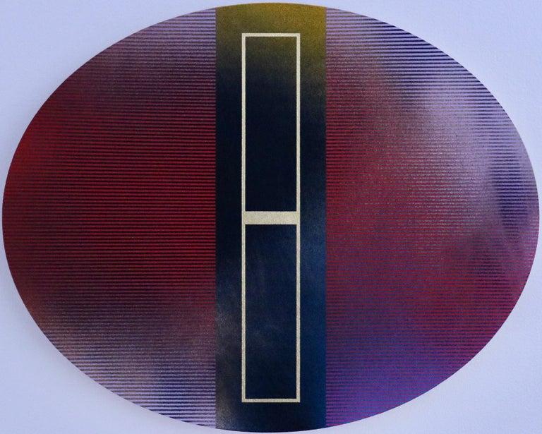 Mangata 48 Oval (panel tondo grid spray painting abstract wood Art Deco op art) - Mixed Media Art by Melisa Taylor Metzger