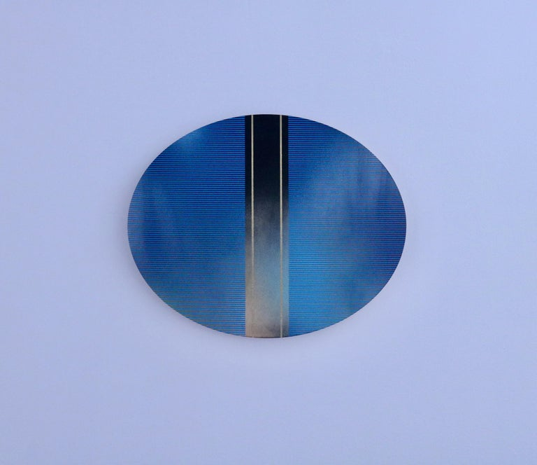 Mangata 49 Oval (classic blue grid painting abstract wood Art Deco op art) - Minimalist Painting by Melisa Taylor Metzger