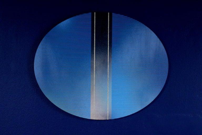 Mangata 49 Oval (classic blue grid painting abstract wood Art Deco op art) - Blue Abstract Painting by Melisa Taylor Metzger