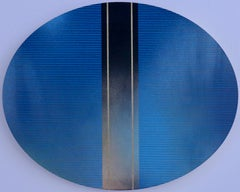 Mangata 49 Oval (classic blue grid painting abstract wood Art Deco op art)