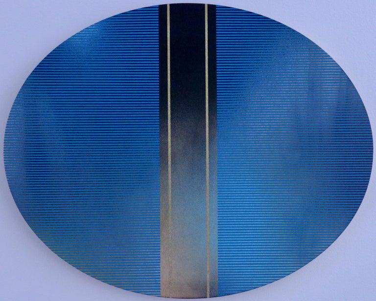 Melisa Taylor Metzger Abstract Painting - Mangata 49 Oval (classic blue grid painting abstract wood Art Deco op art)