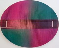 Mangata 50 Oval (circular tondo green panel grid abstract wood Art Deco op art)