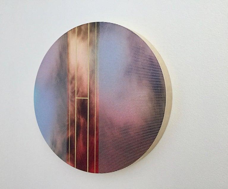 Mangata 51 Oval (circular tondo panel gold grid abstract wood Art Deco op art) - Painting by Melisa Taylor Metzger