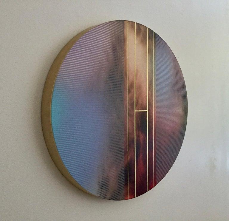 Mangata 51 Oval (circular tondo panel gold grid abstract wood Art Deco op art) - Abstract Geometric Painting by Melisa Taylor Metzger