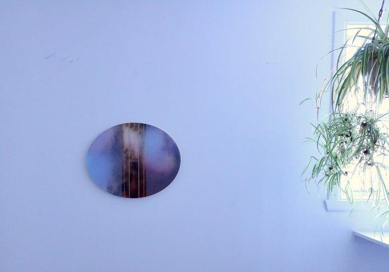 Mangata 51 Oval (circular tondo panel gold grid abstract wood Art Deco op art) - Gray Abstract Painting by Melisa Taylor Metzger