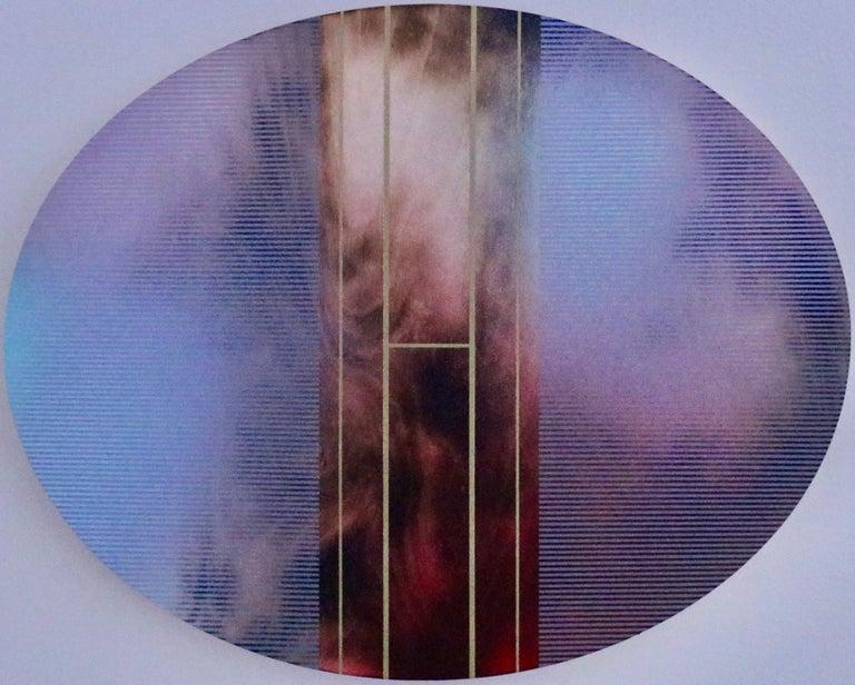 Melisa Taylor Metzger Abstract Painting - Mangata 51 Oval (circular tondo panel gold grid abstract wood Art Deco op art)