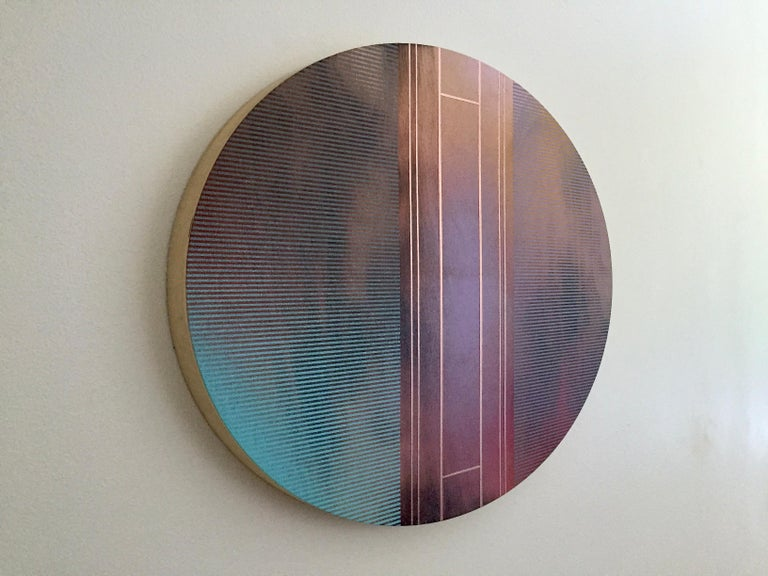 Mangata 53 Oval (circular tondo panel gold grid abstract wood Art Deco op art) - Painting by Melisa Taylor Metzger