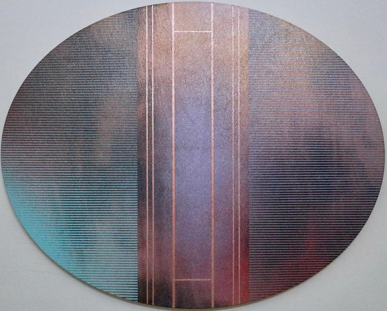 Melisa Taylor Metzger Abstract Painting - Mangata 53 Oval (circular tondo panel gold grid abstract wood Art Deco op art)