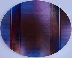 Mangata 54 Oval (circular tondo panel gold grid abstract wood Art Deco op art)