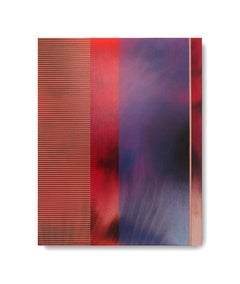 Mangata XII (small scale grid spray painting abstract wood contemporary op art)