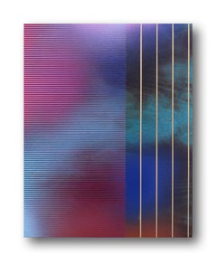 Mangata XVIIc (small scale grid spray painting abstract wood contemporary op art