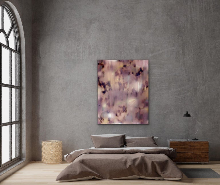 Untitled (grid painting abstract wood contemporary neutrals pink optical art) - Abstract Geometric Mixed Media Art by Melisa Taylor Metzger
