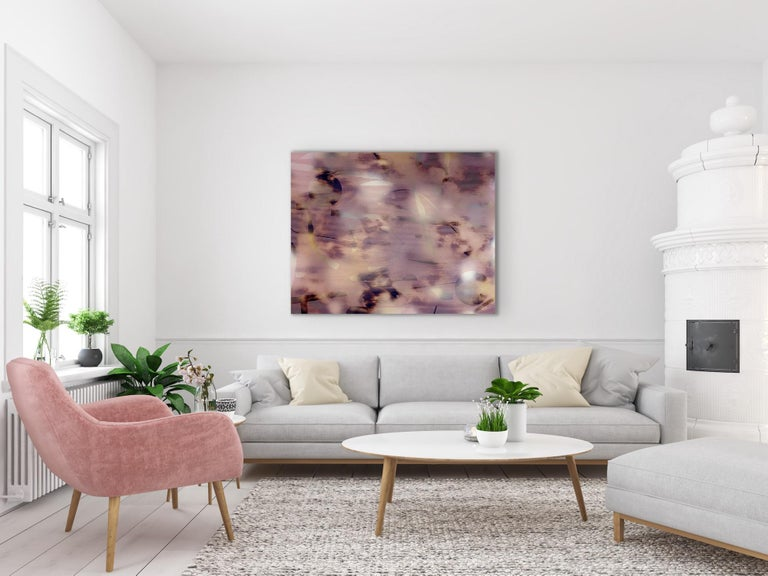 Untitled (grid painting abstract wood contemporary neutrals pink optical art) For Sale 1