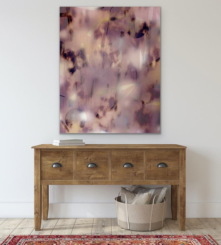 Untitled (grid painting abstract wood contemporary neutrals pink optical art) For Sale 2