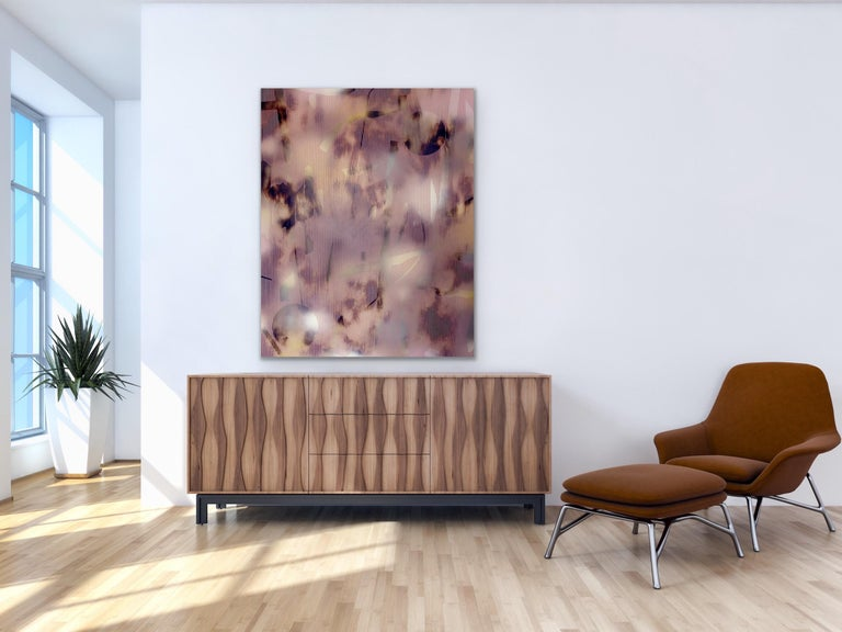 Untitled (grid painting abstract wood contemporary neutrals pink optical art) For Sale 3