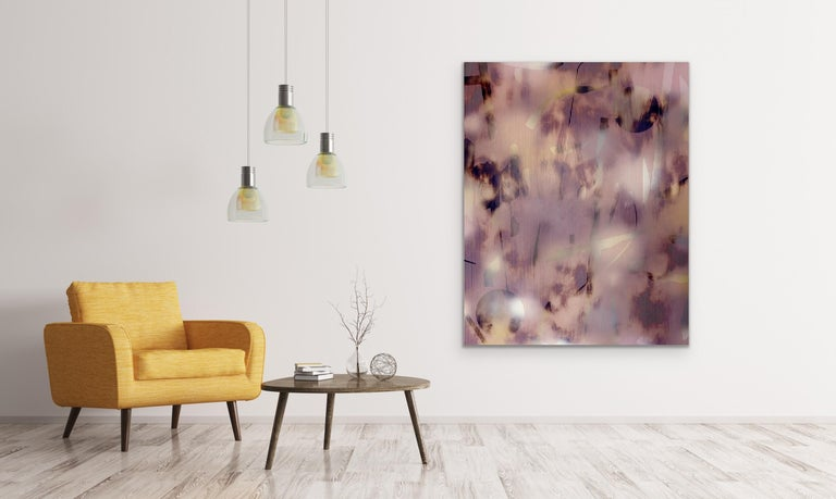 Untitled (grid painting abstract wood contemporary neutrals pink optical art) For Sale 4