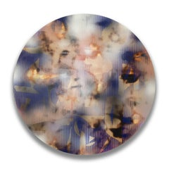 Nacre, plea and entice 5 (grid painting abstract wood round panel white blue art