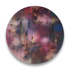 Cascadia 1 (grid painting abstract wood round circular panel contemporary art)
