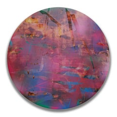 Cascadia 3 (grid painting abstract wood round panel circular contemporary)