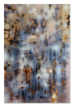 Turbulence 10 (grid painting abstract wood contemporary blue large panel neutral