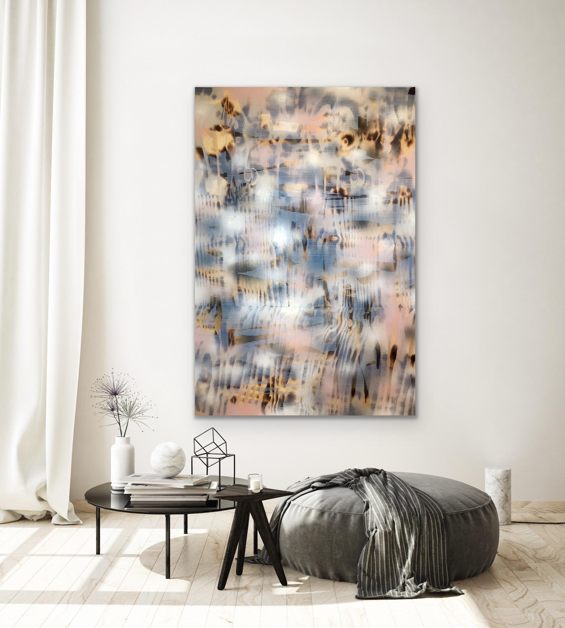 Turbulence 11 (tan off-white patterns pale pink iridescent brown wood abstract)