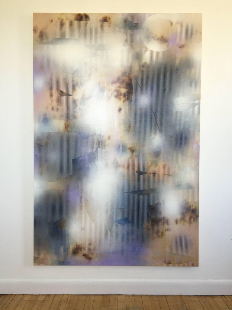 Turbulence 13 (grid painting abstract wood contemporary neutrals atmospheric art - Painting by Melisa Taylor Metzger