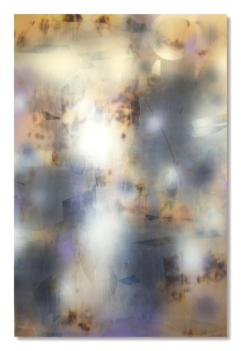 Melisa Taylor Metzger Abstract Painting - Turbulence 13 (grid painting abstract wood contemporary neutrals atmospheric art