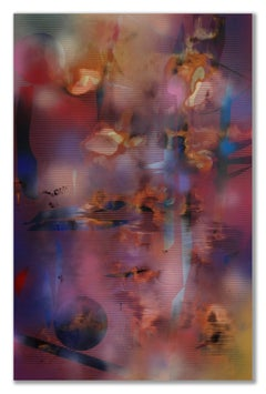 Turbulence 20 (grid painting abstract wood contemporary vibrant pink large panel