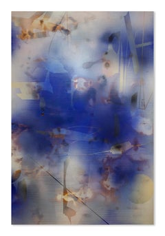 Turbulence 20 (grid painting abstract wood contemporary blue contemporary art)