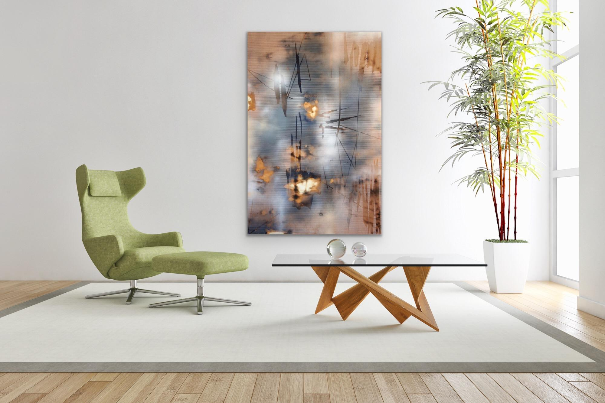 Turbulence 3 (grid painting abstract wood blue Sienna flesh tones contemporary)