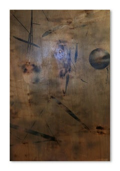 Turbulence 6 (grid painting abstract wood contemporary neutrals contemporary)