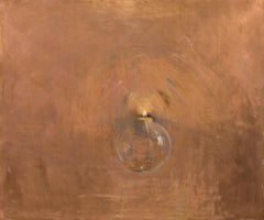 Light, oil painting on copper,  Style of Realism, Florence, Hope. Candle