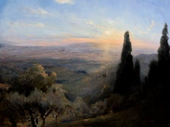Sunset in Fiesole oil painting/copper,  Style of Realism, Florence, Artist Home
