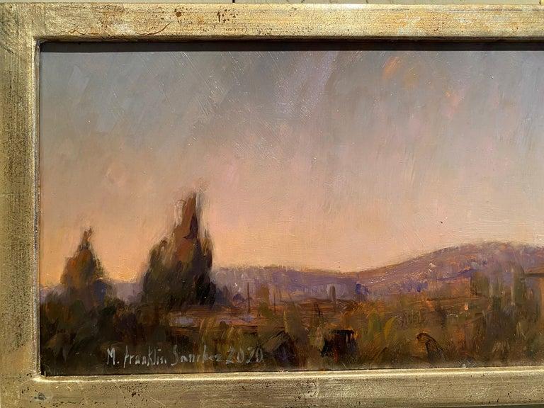 Corona Moonrise - Gray Landscape Painting by Melissa Franklin Sanchez