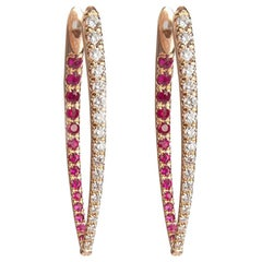 Melissa Kaye Large Cristina Diamond and Ruby Earrings