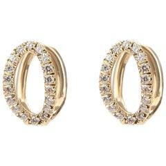 Melissa Kaye Small Mila Yellow Gold and Diamond Earrings