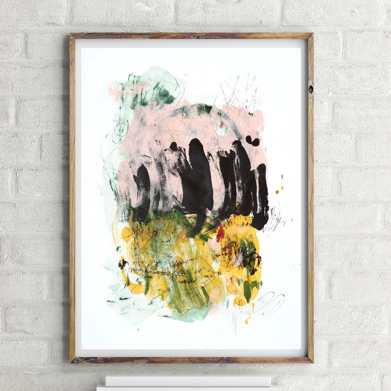 Monoprint 27, Painting, Acrylic on Paper - Beige Abstract Painting by Melissa McGill