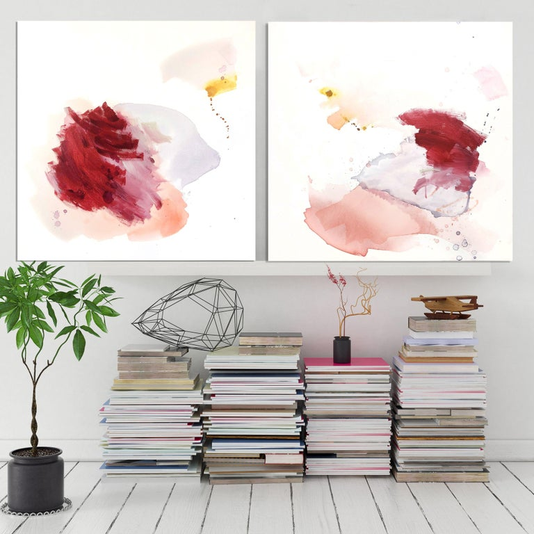 Painting: Acrylic, Ink on Canvas.    Where You Are is a minimal organic abstract expressionist painting on canvas. Layers of translucent colour move across the canvas to reach where you are. Framed in a natural wood strip frame :: Painting ::