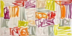 Abstract oil painting, Melissa Meyer, On the Double (Diptych)