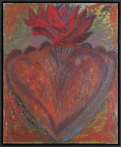 American Abstract Expressionist Artist Melissa Meyer Oil Painting Flaming Heart