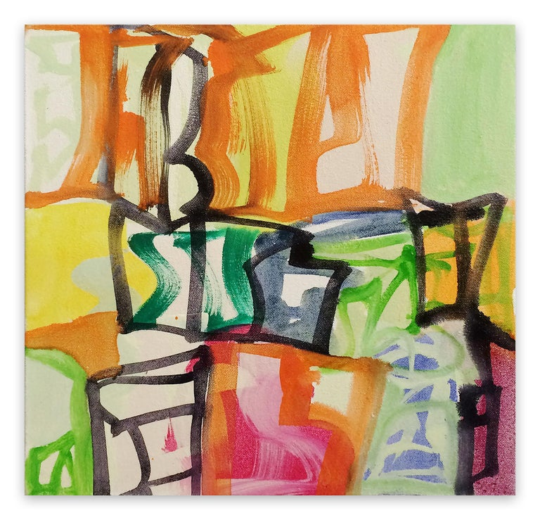Melissa Meyer Abstract Painting - Capital B (Abstract Expressionism painting)