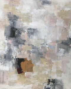 Angelic by Melissa Payne Baker, Large Abstract White and Pink Canvas Painting