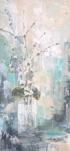 Beautiful Quince by Melissa Payne Baker, Floral Abstract Canvas Painting