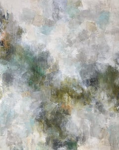 Fern by Melissa Payne Baker, Large Abstract White and Green Canvas Painting