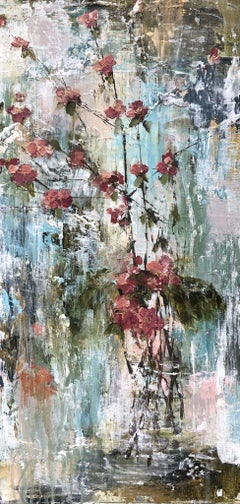 Fuchsia Quince by Melissa Payne Baker, Floral Abstract Canvas Painting