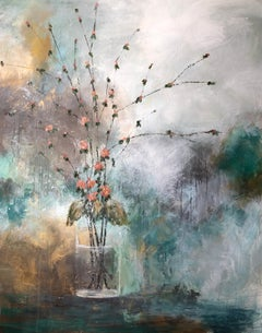 Pink Quince by Melissa Payne Baker, Floral Abstract Canvas Painting